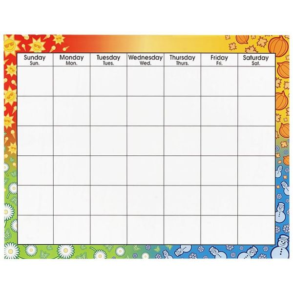 Trend Large Wipe-Off Blank Calendar Chart