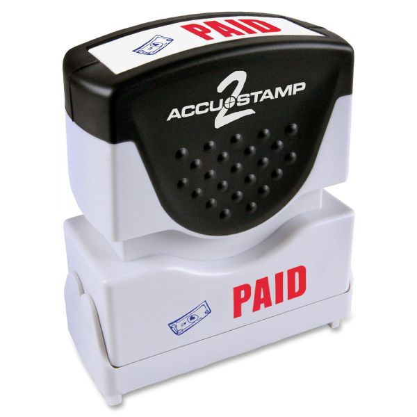 ACCUSTAMP2 Pre-Inked Shutter Stamp with Microban, Red/Blue, PAID, 1 5/8 x 1/2