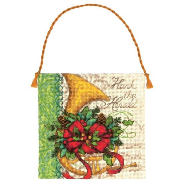 Gold Petite French Horn Ornament Counted Cross Stitch Kit