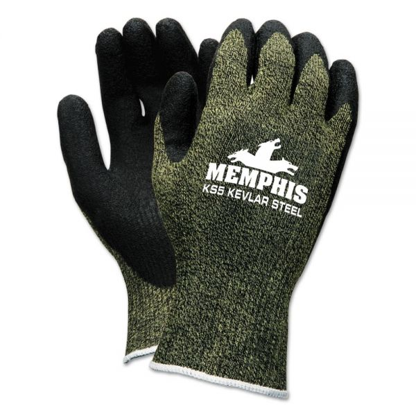 Memphis KS-5 Latex Dip Gloves, 13 gauge, Green Black, Small