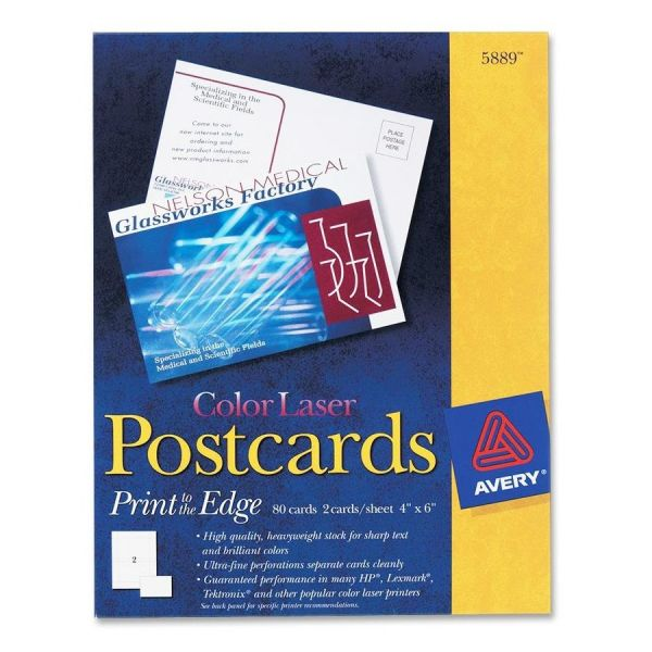 Avery Postcards, Color Laser Printing, 4 x 6, Uncoated White, 2 Cards/Sheet, 80/Box