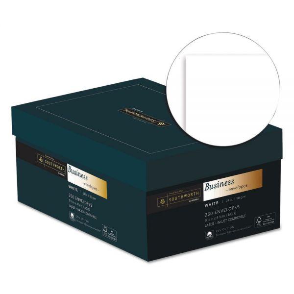 Southworth 25% Cotton #10 Business Envelope, 4 1/8 x 9 1/2, White, 24lb, Wove, 250/Box