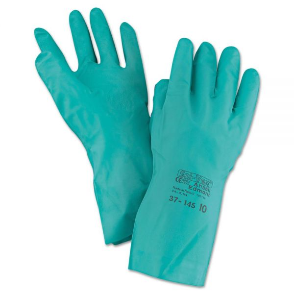 AnsellPro Sol-Vex Sandpatch-Grip Nitrile Gloves, Green, Size 10, 12 Pairs