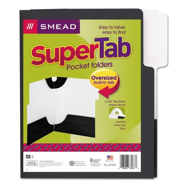 Smead SuperTab Black Two Pocket Folders