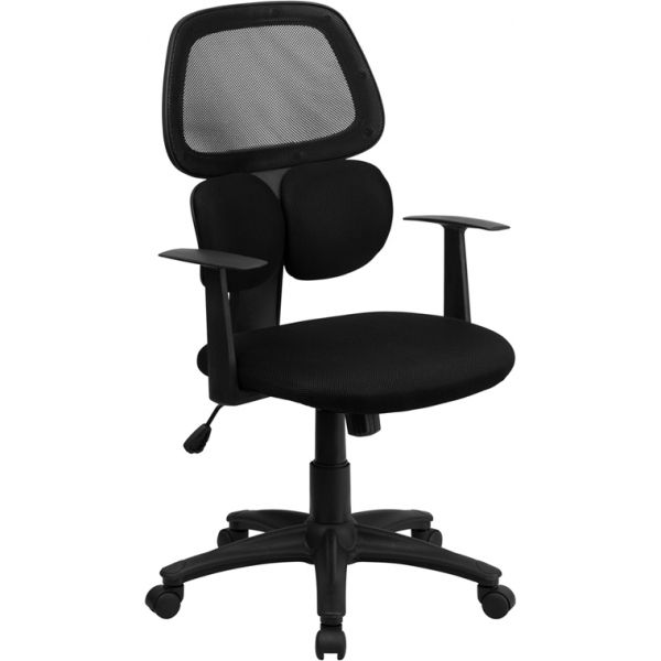 Flash Furniture Mid-Back Mesh Swivel Task Chair with Flexible Dual Lumbar Support