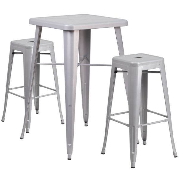 Flash Furniture 23.75'' Square Silver Metal Indoor-Outdoor Bar Table Set with 2 Square Seat Backless Barstools