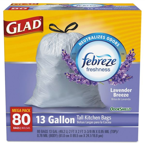 Glad OdorShield Tall Kitchen Drawstring 13 Gallon Trash Bags with Lavender Scent