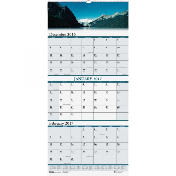 House of Doolittle Scenic Compact 3-Month Horizontal Wall Calendar