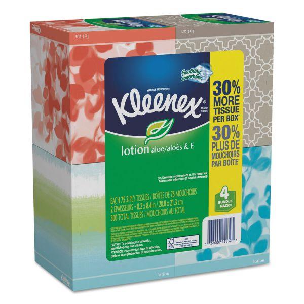 Kleenex Lotion Facial Tissue, 2-Ply, 75 Sheets/Box, 4 Box/Pack