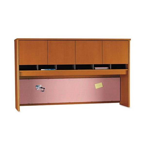 Series C Hutch with Two Doors & Open Center, Auburn Maple, 71w x 15-3/8d x 43h by Bush Furniture