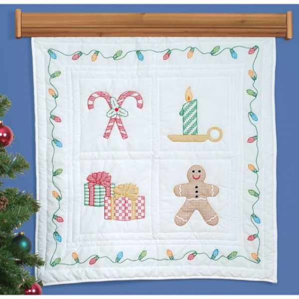"Stamped White Wall Or Lap Quilt 36""X36"""
