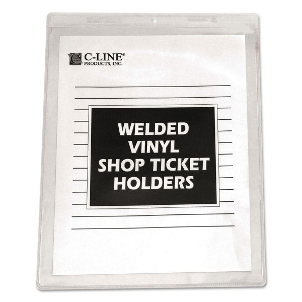 C-Line Clear Vinyl Shop Ticket Holder, Both Sides Clear, 15 Sheets, 8 1/2 x 11, 50/BX
