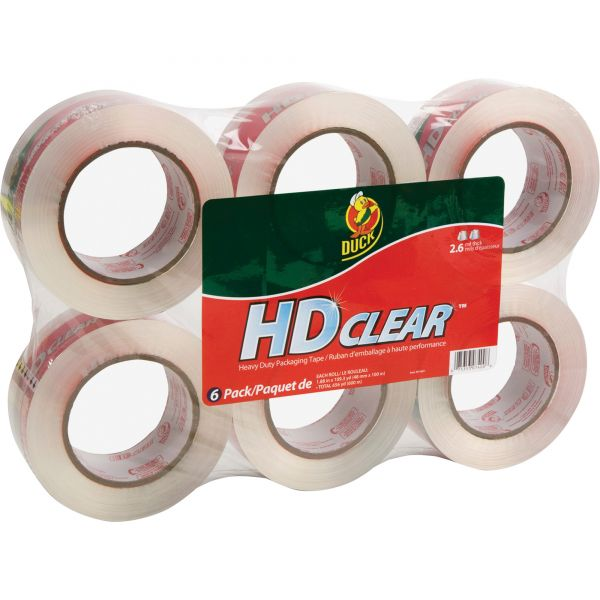 "Duck Heavy-Duty Carton Packaging Tape, 1.88"" x 110 yards, Clear, 6/Pack"