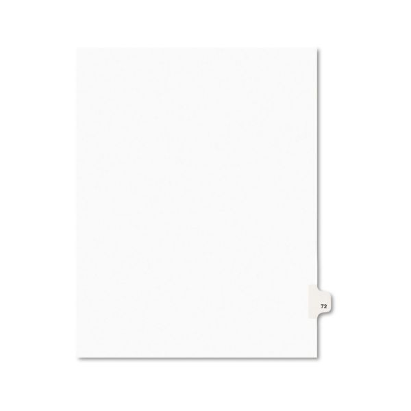 Avery-Style Legal Exhibit Side Tab Divider, Title: 72, Letter, White, 25/Pack