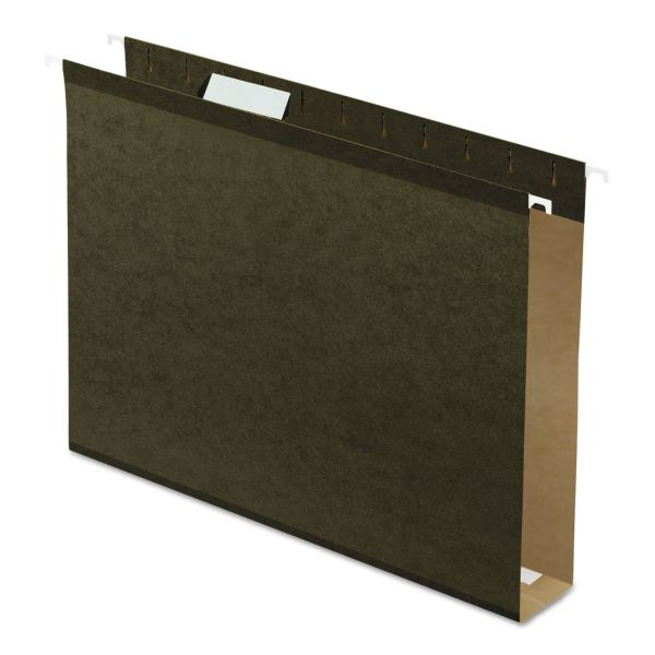 "Pendaflex Reinforced 2"" Extra Capacity Hanging Folders, 1/5 Tab, Letter, Green, 25/Box"
