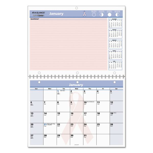 At-A-Glance QuickNotes Breast Cancer Awareness Monthly Calendar