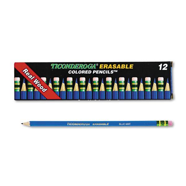 Ticonderoga Ticonderoga Erasable Colored Pencils, 2.6 mm, Blue Lead/Barrel, Dozen