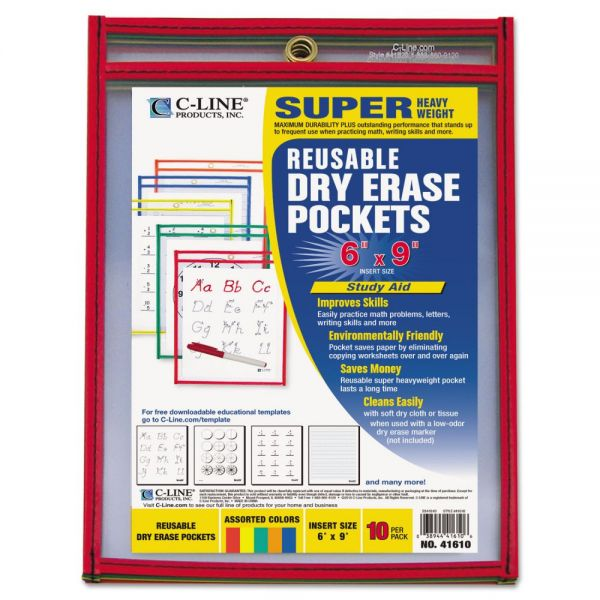 C-Line Reusable Dry Erase Pockets, 6 x 9, Assorted Primary Colors, 10/Pack