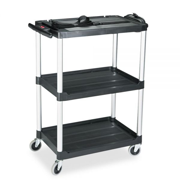 Rubbermaid Media Master AV Cart, Two Shelves, 18-3/4 x 32-3/4 x 42, Black