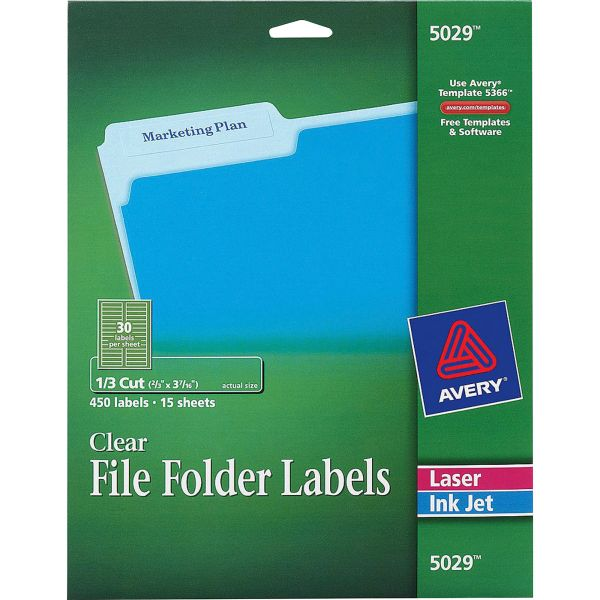 Avery Clear File Folder Labels, 1/3 Cut, 2/3 x 3 7/16, 450/Pack