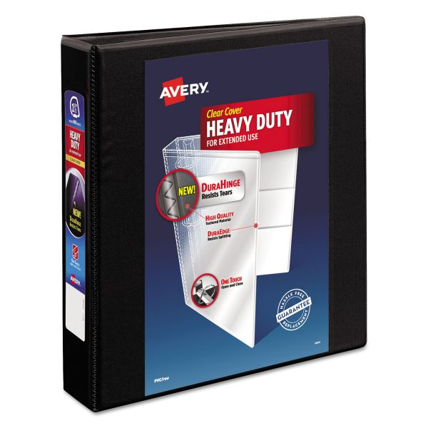"Avery Heavy-Duty 3-Ring View Binder w/Locking 1-Touch EZD Rings, 1 1/2"" Capacity, Black"
