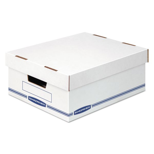 Bankers Box Organizer Storage Boxes, Large, White/Blue, 12/Carton