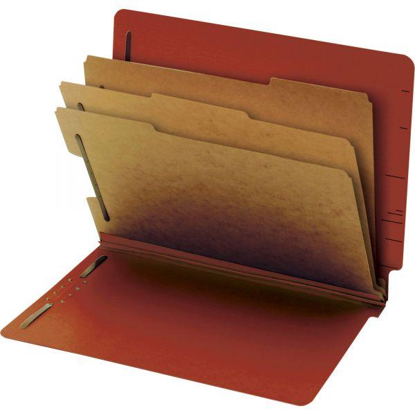 Globe-Weis End Tab Red Pressboard Classification Folders