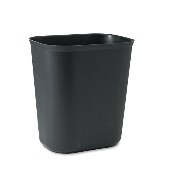 Rubbermaid Commercial Fire-Resistant Wastebasket, Rectangular, Fiberglass, 3.5gal, Black