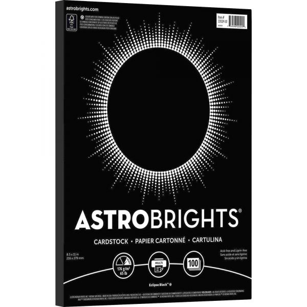 Astrobrights Printable Eclipse Black Colored Card Stock