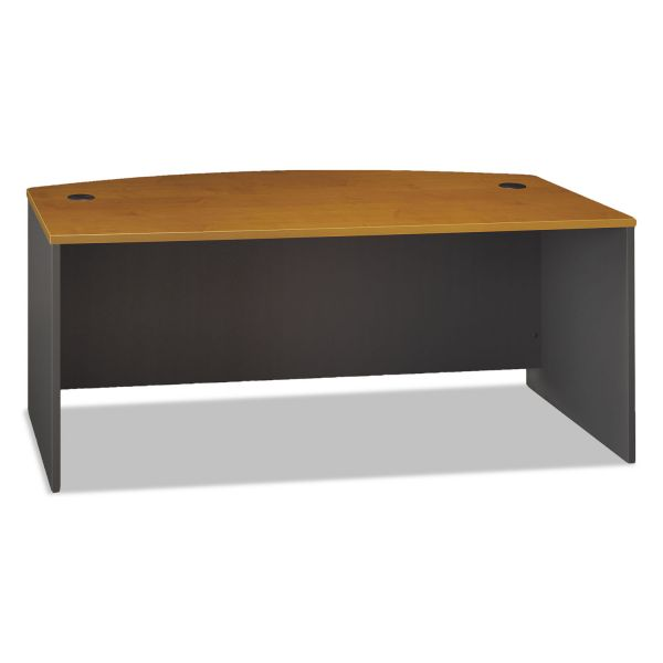 Bush Series C Collection 72W Bow Front Desk Shell, Natural Cherry