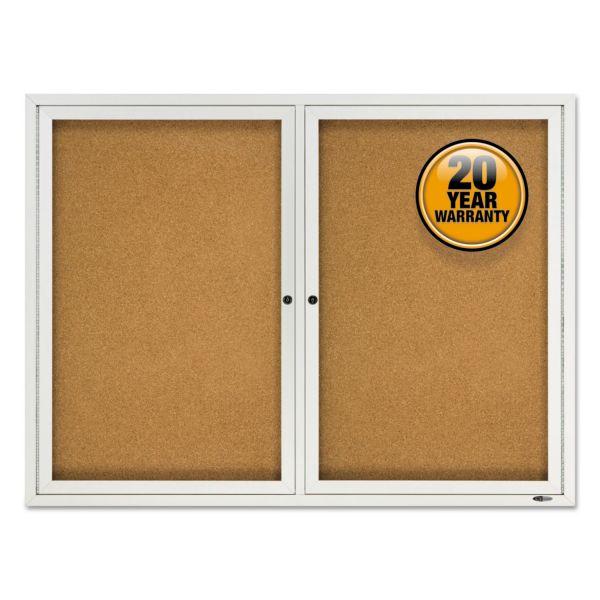 Quartet Enclosed Cork Outdoor Bulletin Board