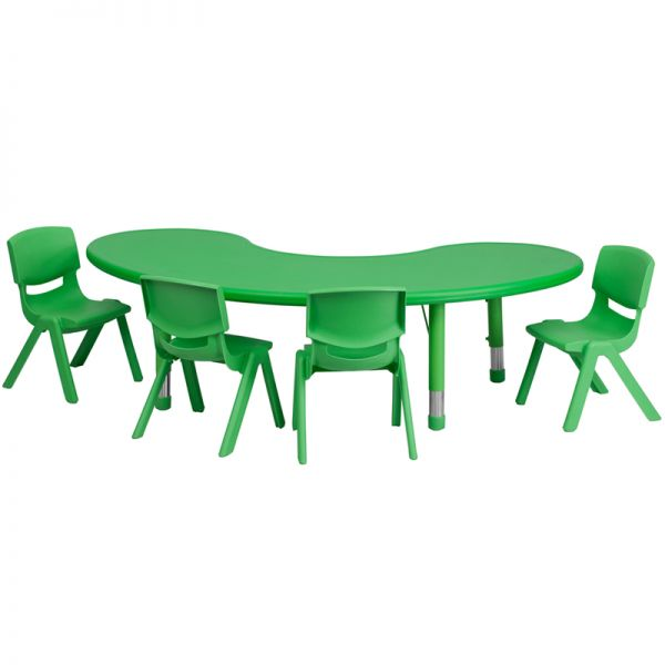 Flash Furniture 35''W x 65''L Adjustable Half-Moon Green Plastic Activity Table Set with 4 School Stack Chairs