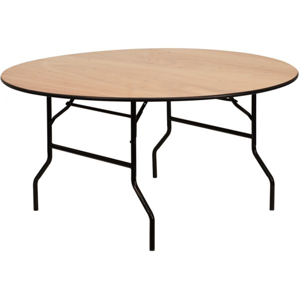 Flash Furniture 60'' Round Wood Folding Banquet Table with Clear Coated Finished Top