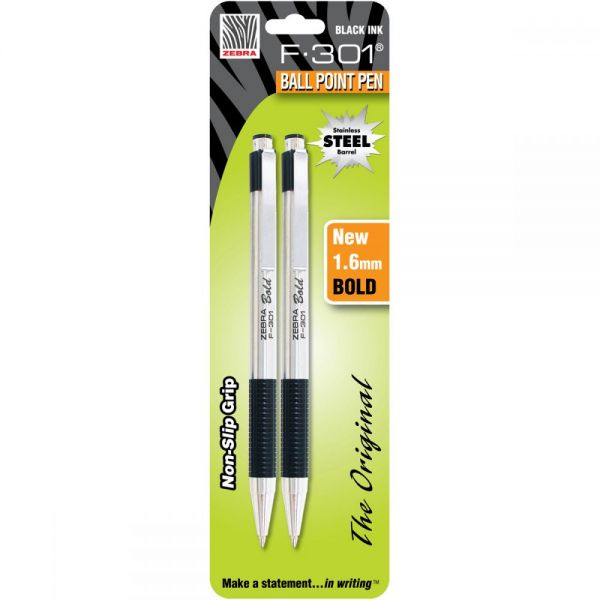 F-301 Stainless Steel Ballpoint Pen 1.6mm 2/Pkg