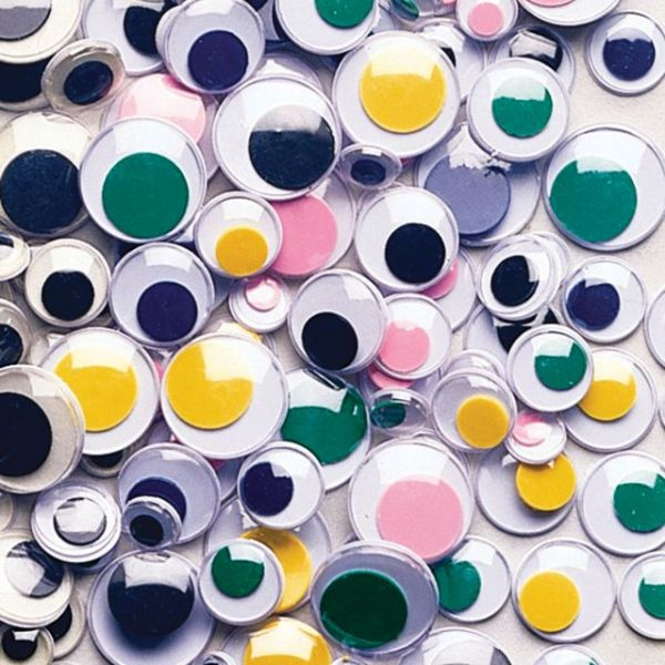 Paste-On Wiggle Eyes Assorted 7mm To 15mm 100/Pkg