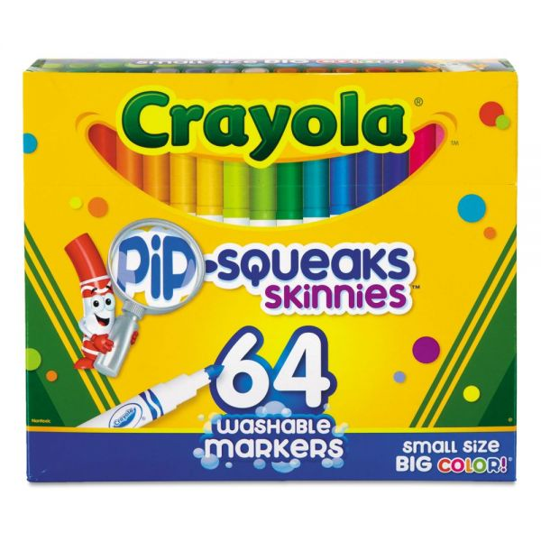 Crayola Pip-Squeaks Skinnies Washable Markers, 64 Colors, 64/Set