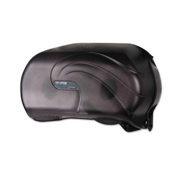 San Jamar VersaTwin Standard Tissue Dispenser, 2 Roll, 12-1/4 x 5-3/4 x 8-1/4, Black Pearl