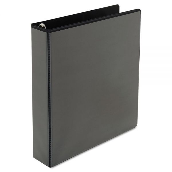 """Universal Deluxe Easy-to-Open 3-Ring View Binder, 1 1/2"""" Capacity, Round Ring, Black"""