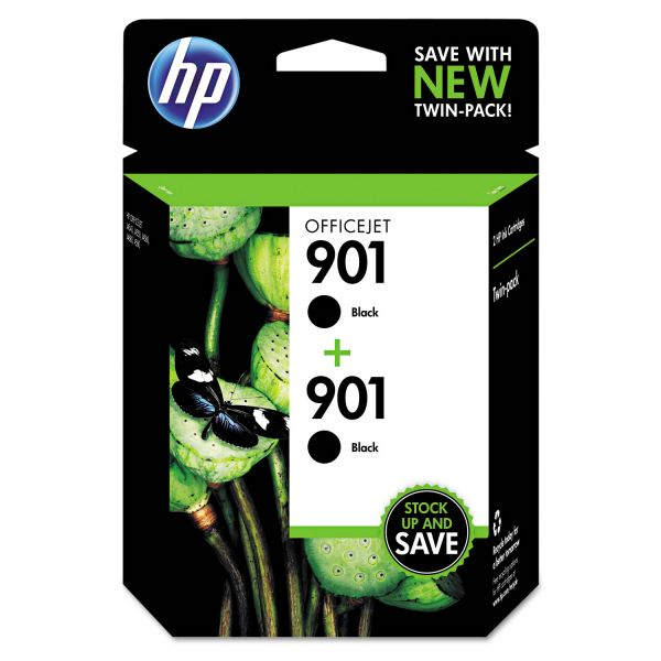 HP 901, (CZ075FN) 2-pack Black Original Ink Cartridges