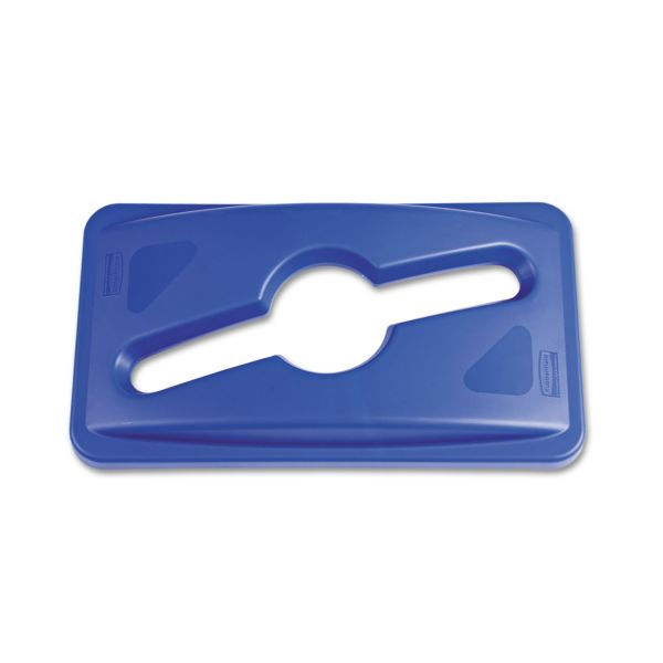 Rubbermaid Commercial Slim Jim Single Stream Recycling Top for Slim Jim Containers, Blue
