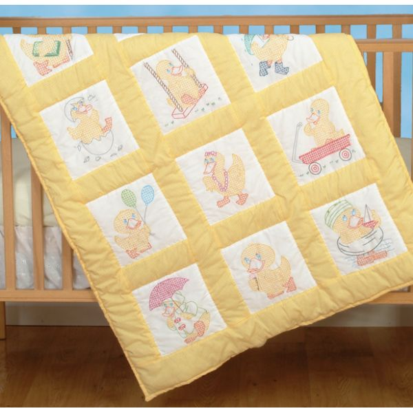 Jack Dempsey Stamped White Nursery Quilt Blocks