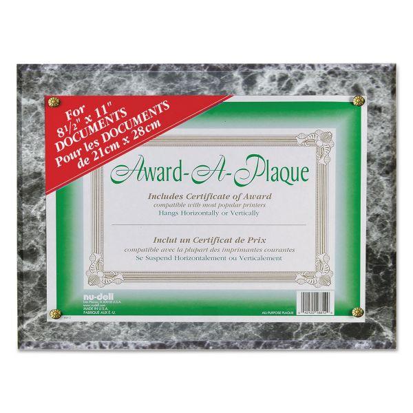 NuDell Award-A-Plaque Document Holder, Acrylic/Plastic, 10-1/2 x 13, Black