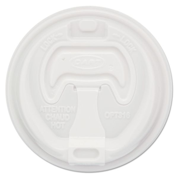 Dart Optima Reclosable Lids for Paper Hot Cups for 10-24 oz Cups, White, 1000/Carton