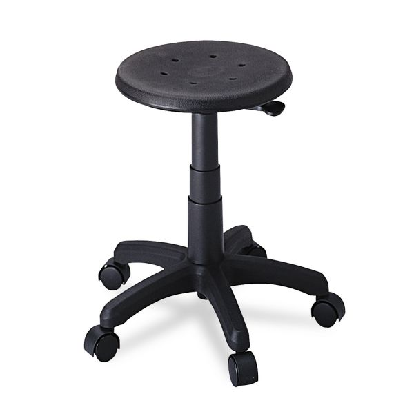 Safco Office Stool with Casters, Seat: 14in dia. x 16-21, Black