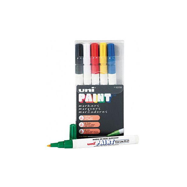 Sanford uni-Paint uni-Paint Markers, Fine Point, Assorted, 6/Set