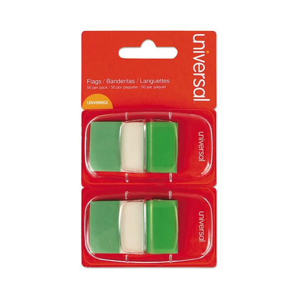 Universal Page Flags, Green, 50 Flags/Dispenser, 2 Dispensers/Pack