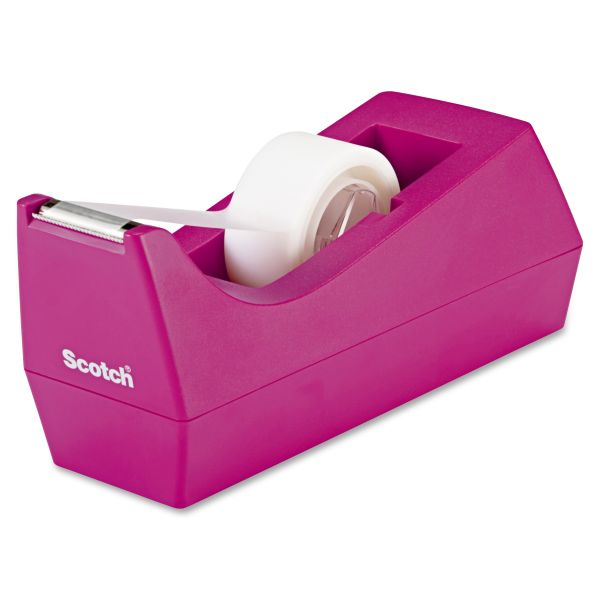 "Scotch Desktop Tape Dispenser, 1"" Core, Weighted Non-Skid Base, Hibiscus"