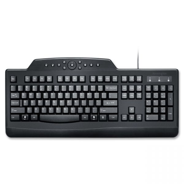 Kensington Pro Fit Wired Media Keyboard, Full Size, Black