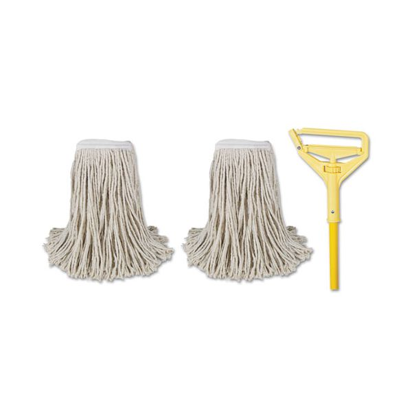 "Boardwalk Cut-End Mop Kits, #24, Natural, 60"" Metal/Plastic Handle, Yellow"