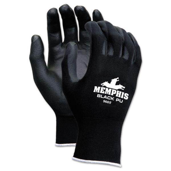 MCR Safety Economy PU Coated Work Gloves, Black, Medium, 1 Dozen